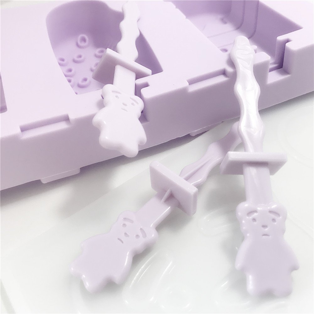 3 tree Silicone Ice Pop Mold,Pertique 3 Cavities Cute Ice Cream Bar Mould,Popsicle Molds DIY Ice Cream Maker,Silicone Chocolate Candy Soap Molds with 3 Small Bear Sticks