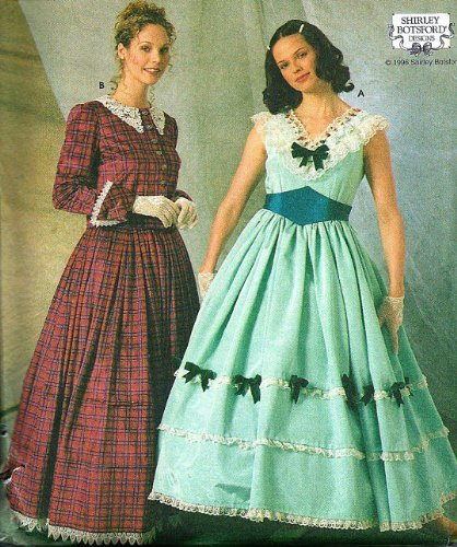 Simplicity 7312 Civil War Era (Gone with the Wind Style) Day Dress, Cape Belt Sewing Pattern, Shirley Botsford Design Size 10,12,14]()