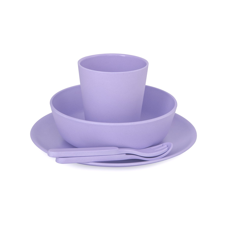 lila y monocrom/ático Lilac azul 5 piezas BoBo and Boo gris Vajilla de bamb/ú color rosa amarillo