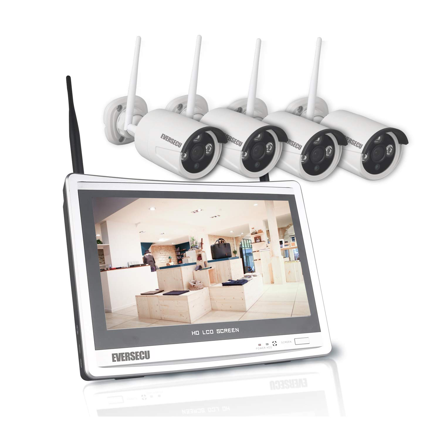 1080P Home Security Camera System Wireless with 12 Inch Monitor WiFi Surveillance NVR Kits, 4 Channel WiFi Video Security System with 4Pcs 2.0MP IP Cameras,Free APP(No HDD) by EVERSECU