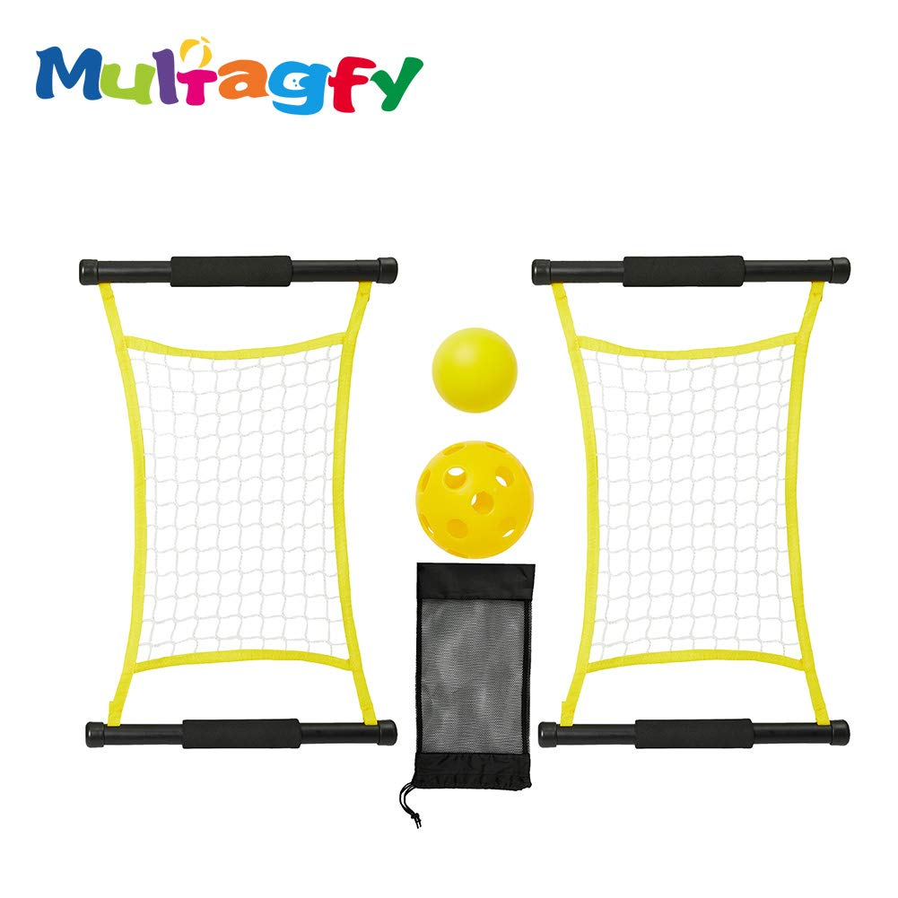 MULTAGFY Trampoline Hand Net Switch Ball Game Set Fun Toy Sports with 2 Launch Nets 2 Switch Balls for Outdoor and Indoor Family Camping