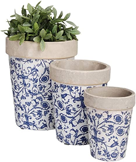 Ceramic Planter Set 3 Piece Vintage Round Planters Plant Flower Pots White And Blue Floral Design Great Addition To Your Gorgeous Collection Of Home Patio Garden Decorative Flowers Container Amazon Co Uk Garden