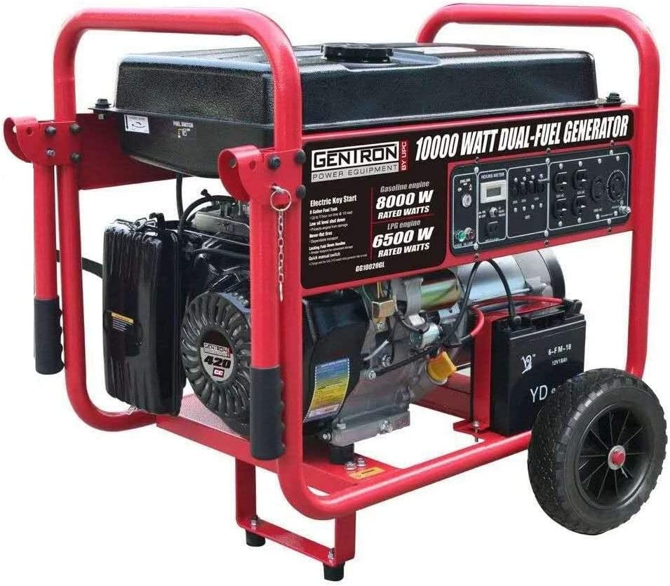 Gentron GG10020GL 10000 Watt Portable Dual Fuel Generator w/Electric Start Gas/Propane, 10000W, Black/Red