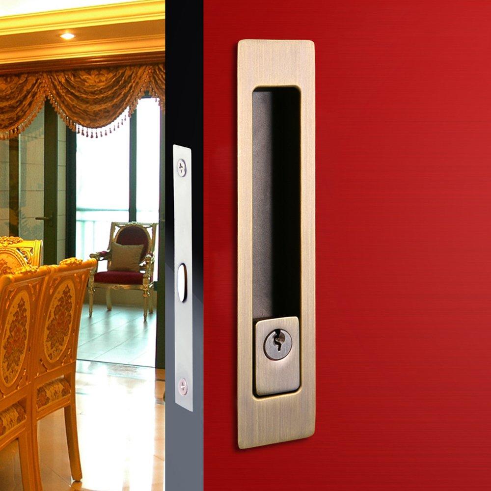 CCJH Invisible Door Locks Handle with Keys for Sliding Barn Wooden Door Furniture Hardware 180mm/7.1inches (Bronze)