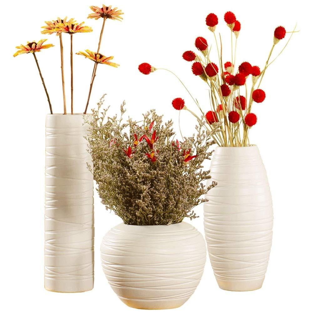 花瓶、セラミックドライフラワー花瓶、モダンファッションクリエイティブテーブルフラワーリビングルームホームデコレーション装飾品 - スリーピース(花を除く) B07RGWLC1X