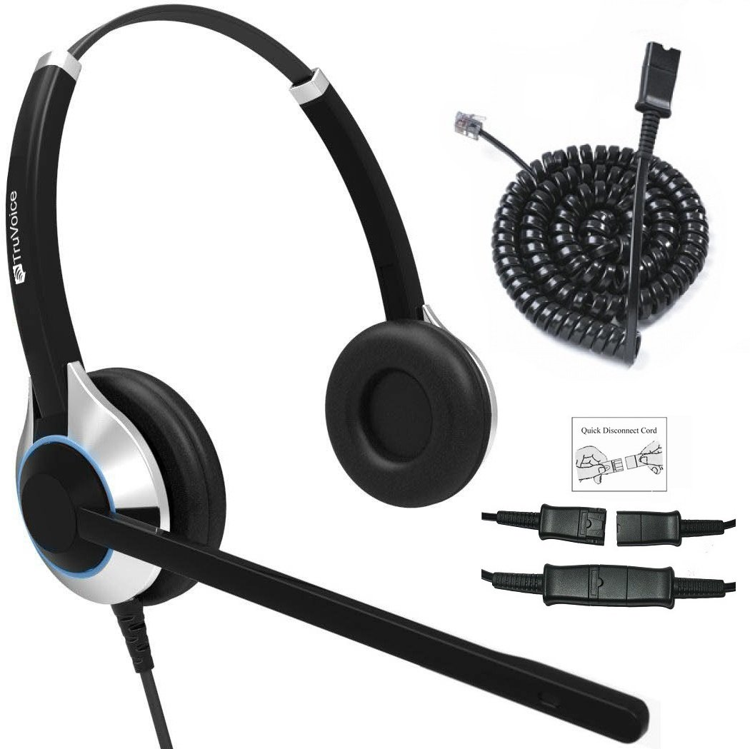 TruVoice HD-550 Deluxe Double Ear Noise Canceling Office/Call Center Headset with U10P Bottom Cable Works with Mitel, Nortel, Avaya Digital, Polycom VVX, Shoretel, Aastra, Fanvil, Digium + Many More by TruVoice