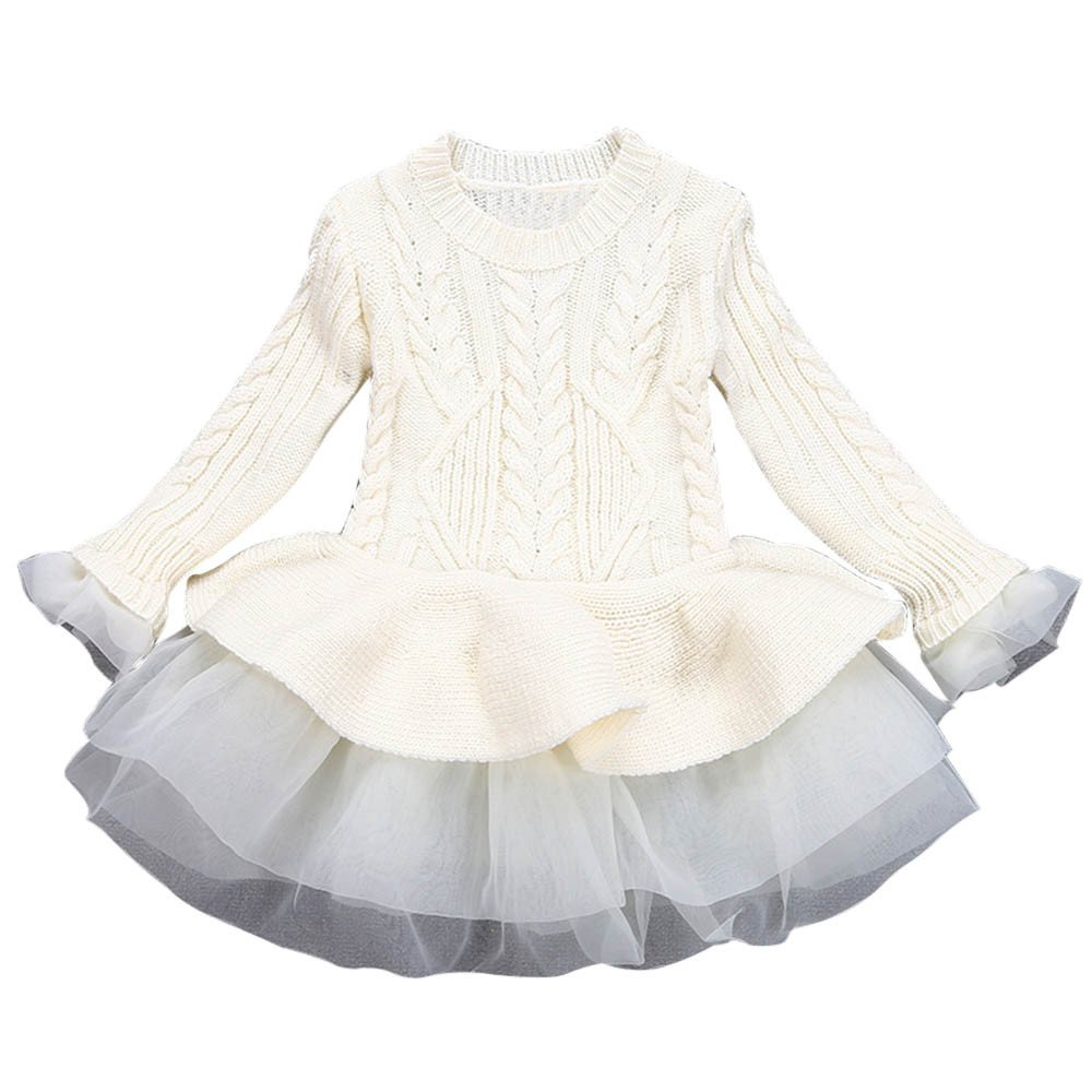 4d04a1e944 Amazon.com  ❤ Mealeaf ❤ Toddler Kids Girls Tutu Dress Pullovers Crochet  Knitted Sweater Winter Warm Tops Clothes 0-7t  Clothing