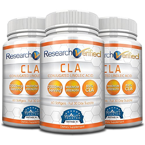 Research Verifed CLA - 2000mg 85% Conjugated Linoleic Acid - Top Proven Potency - 100% Pure - 100% 365 Days Money Back Guarantee - 3 Bottles (3 Months Supply) - Natural Weight Loss Management