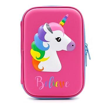 Bonito estuche con diseño de unicornio en relieve, caja de lápices para niños, estuche con múltiples compartimentos, color hot pink