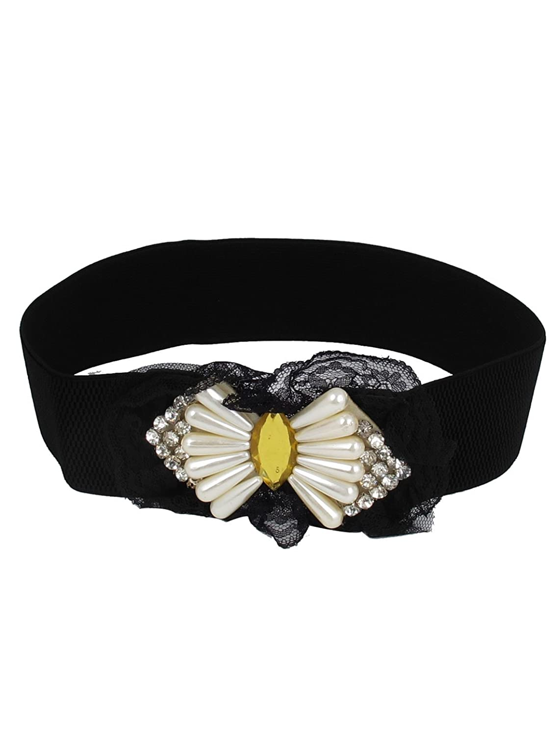 Faux Pearl Decor Bowknot Style Lady Buckle Cinch Waist Belt Band Black