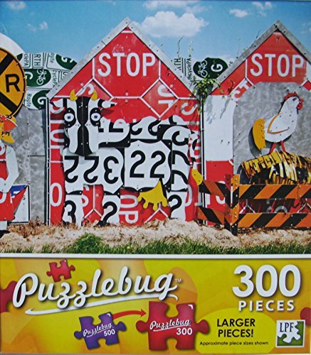 PuzzleBug 300 Piece Puzzle ~ Fence Made Of Recycled Traffic Signs - New Larger Pieces