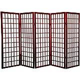Oriental Furniture 4 ft. Tall Window Pane Shoji Screen - Rosewood - 5 Panels