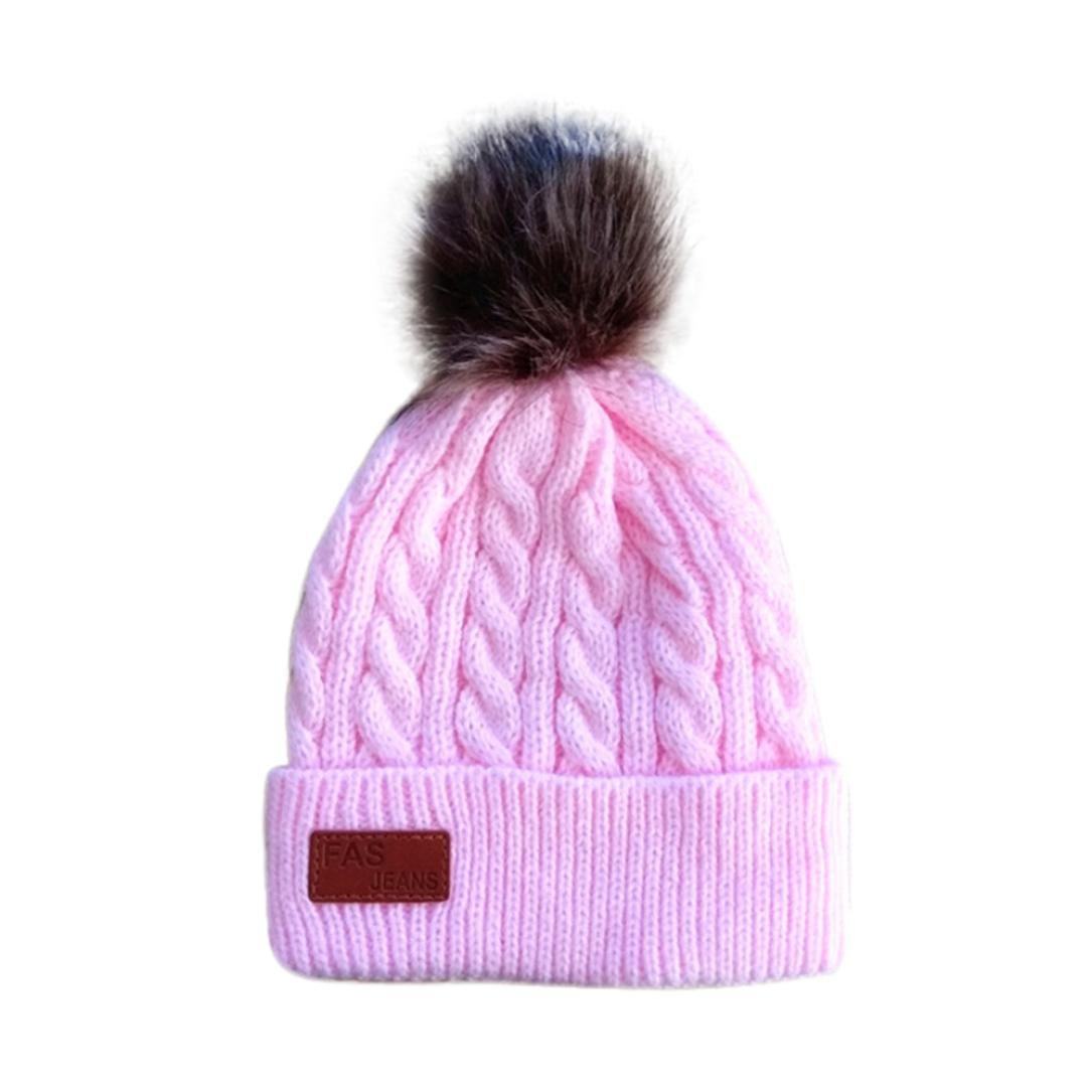 Baby Beanie Hat Boys Girls Winter Hat Pom Pom Letter Warm Knitted Children Hats (2-8 Years, Black) LMMVP