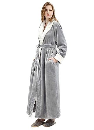 4b4069f97de4 Women's Luxurious Fleece Bath Robe Plush Soft Warm Long Terry Bathrobe Full  Length Sleepwear,Gray
