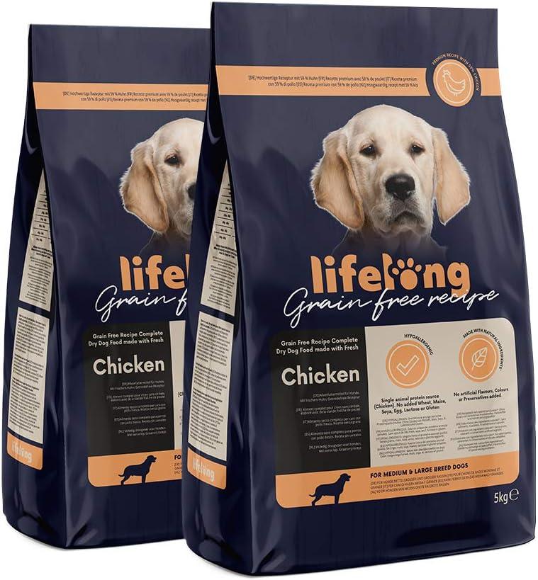Marca Amazon - Lifelong Alimento seco completo con pollo fresco para perros de razas medianas y grandes, receta sin cereales - 5kg*2