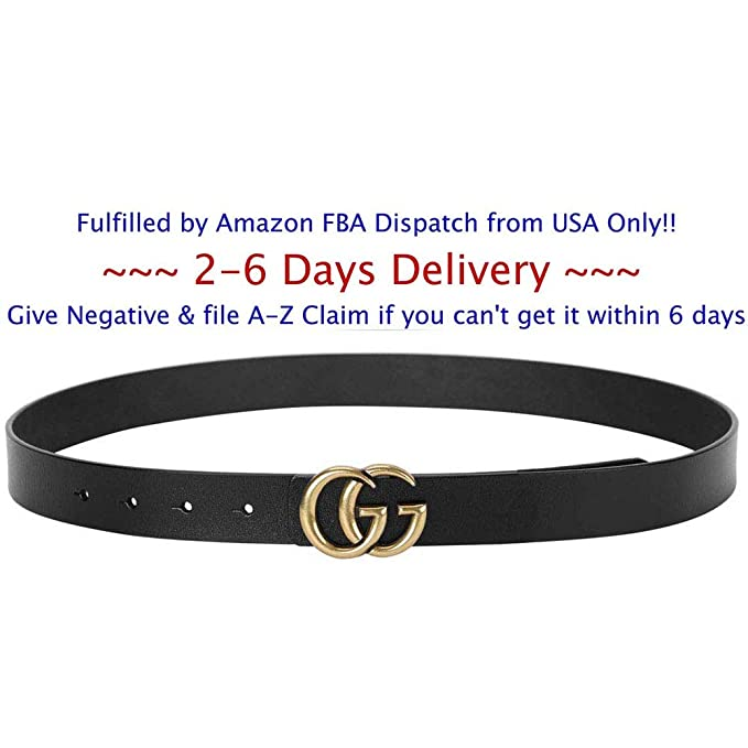 80ce39dbeede Image Unavailable. Image not available for. Color  GG Belt For Women Belts  Fashion G-Style Gold Buckle Unisex Cowhide Leather ...