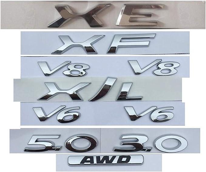 Chrome Letters XE XJ XJL XF V8 V6 3.0 5.0 AWD Boot Trunk Rear Badge Emblem Emblems Badges XE XF XJ XJL XFL FP FT