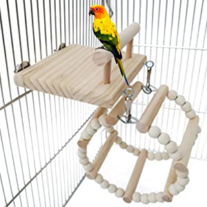 Bird Perches Cage Toys, Bird Wooden Play Gyms Stands with Acrylic Wood Swing, Rattan Ball, Ferris Wheel, Bird Perch Chewing Toys for Green Cheeks, Baby Lovebird, Chinchilla, Hamster