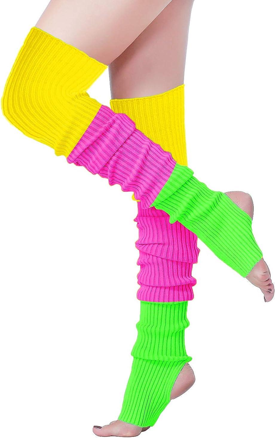 Vintage Style Socks- Knee High, Bobby, Anklet V28 Women 80s Party Warm Costume Marathon Knit Long Socks Leg Warmers $14.99 AT vintagedancer.com