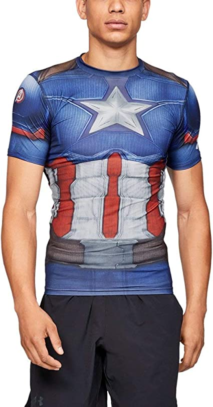 Under Armour Captain America Suit Compression Short Sleeve Shirt Midnight Navy-White - 3XL: Amazon.es: Deportes y aire libre
