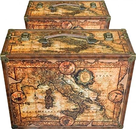 Set of 2 wooden canvas old fashioned world map storage boxes set of 2 wooden canvas old fashioned world map storage boxes gumiabroncs Choice Image