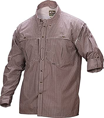Drake Wingshooter Game Day Plaid Long Sleeve Shirt (Maroon) (Men's XL)