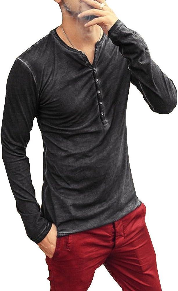 ORANDESIGNE Uomo Autunno Maglietta a Maniche Lunghe Moda Casual Scollo a V Tinta Unita Slim Fit T-Shirt Sportivo Top