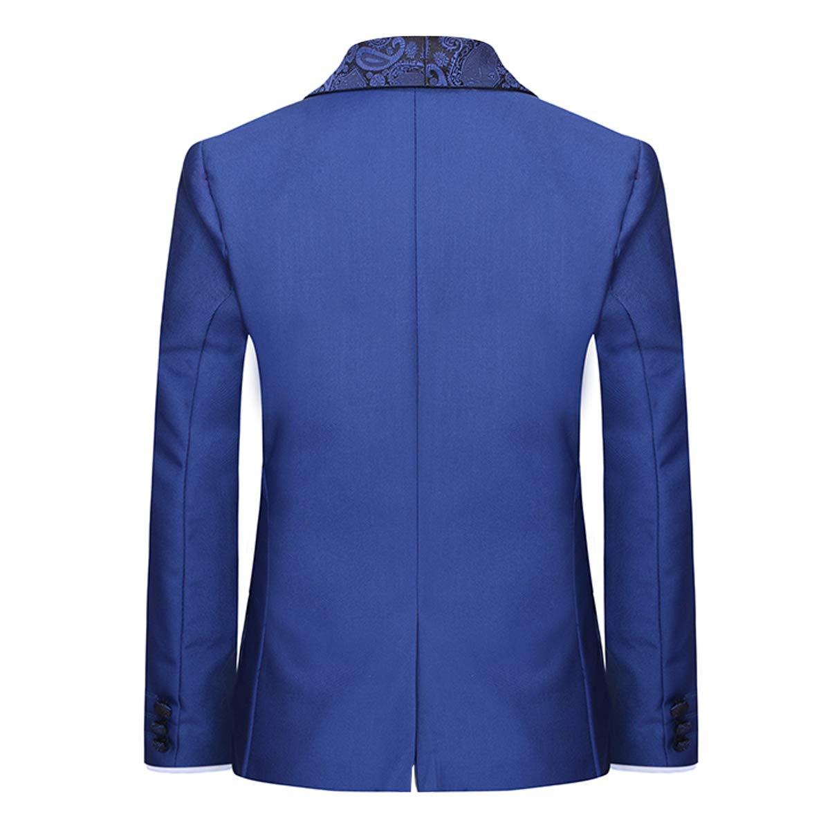 Boyland Boys 3 Pieces Tuxedo Suits Jacquard Shawl Lapel Slim Fit Tux Jacket Vest Pants 4 Colors Prom Party Wedding