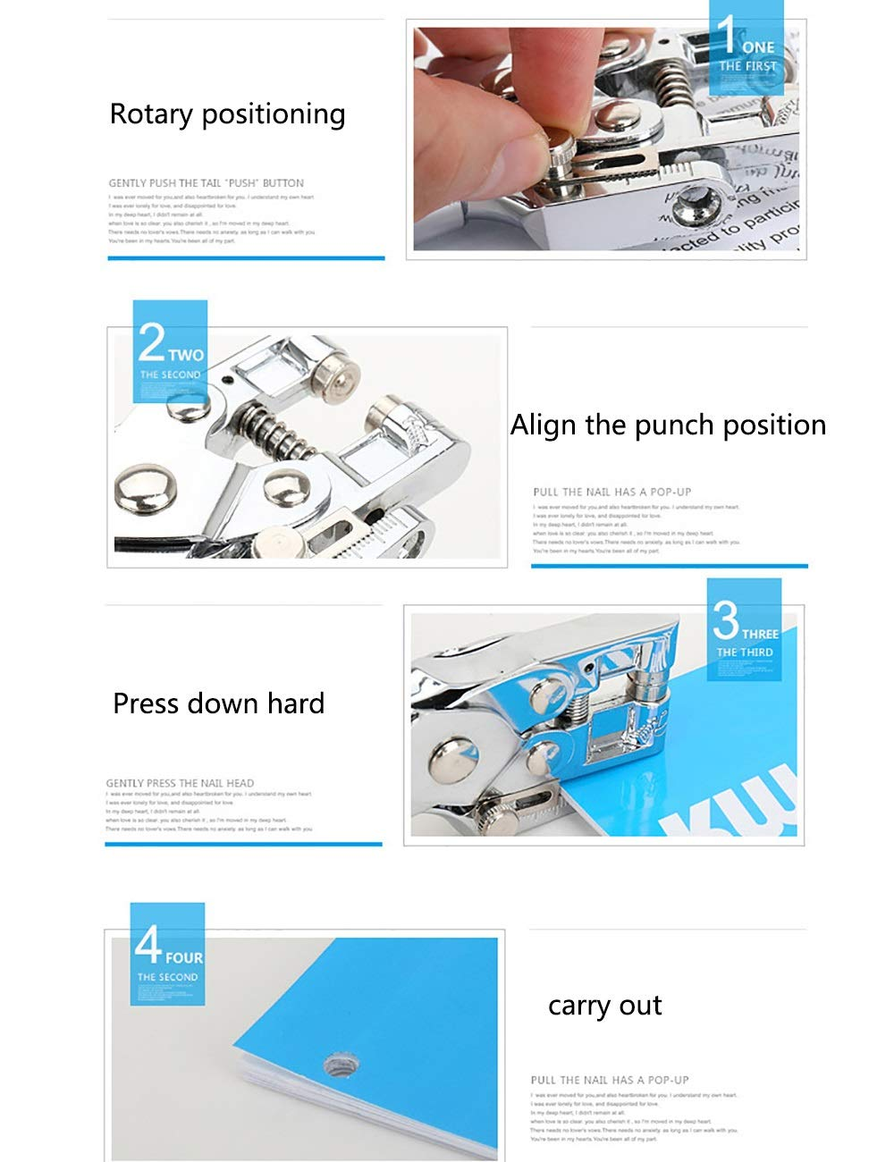 Stapler QIN WNQ Perno De Metal De Solo Un Solo De Orificio, Retenedor De Metal De Hojas Sueltas, Paso De 5mm, Capacidad De 30 Hojas A+ (Tamaño : 3) f8cc22