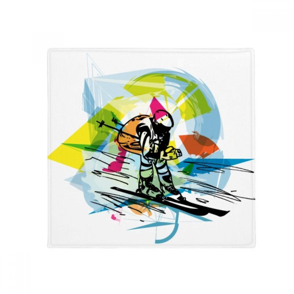 DIYthinker Winter Sport Freestyle Skiing Illustration Anti-Slip Floor Pet Mat Square Home Kitchen Door 80Cm Gift