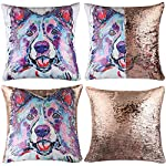 """EVERMARKET Mermaid Throw Pillow Cover,Magic Reversible Sequin Pillow Case, Cute Pet Pattern Throw Cushion Pillow Case Decorative Pillow That Change Color 16""""X16""""inch,Border Collie Dog 6"""