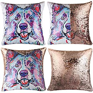 "EVERMARKET Mermaid Throw Pillow Cover,Magic Reversible Sequin Pillow Case, Cute Pet Pattern Throw Cushion Pillow Case Decorative Pillow That Change Color 16""X16""inch,Border Collie Dog 1"
