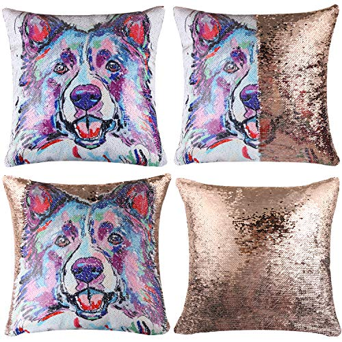 EVERMARKET Mermaid Throw Pillow Cover,Magic Reversible Sequin Pillow Case, Cute Pet Pattern Throw Cushion Pillow Case Decorative Pillow That Change Color 16