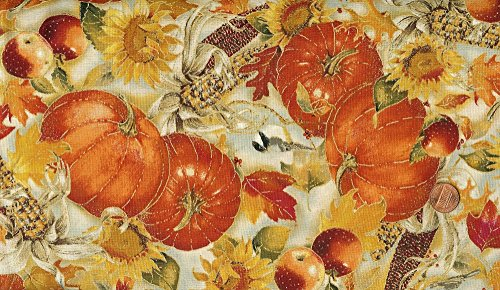 Red Rooster 'Joyful Harvest' Pumpkin Field on Cotton Fabric By the (Joyful Pumpkin)