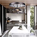 """Industrial Vintage Barn Cage Metal 16""""Pendant Light - LITFAD Satin Semi Flush Mount Ceiling Light Chandelier Hanging Fixture with 3 Lights,Painted Finish"""