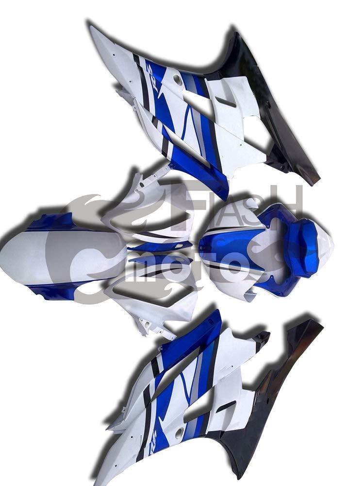 FlashMoto yamaha ヤマハ YZF-600 R6 2006 2007用フェアリング 塗装済 オートバイ用射出成型ABS樹脂ボディワークのフェアリングキットセット (ホワイト,ブルー)   B07LF2GKPX