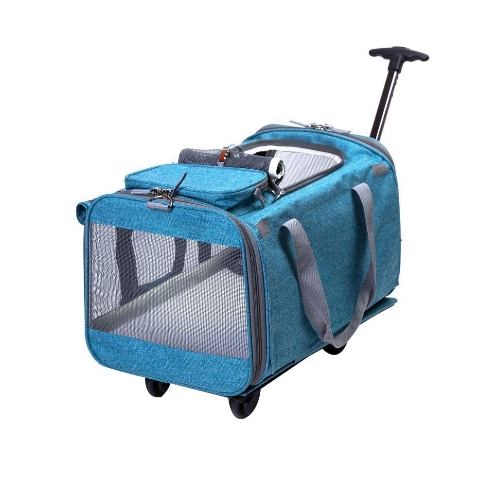 A Pet Bag Pet Trolley Bag Comfortable Breathable Large Capacity Linen + Nylon Mesh Folding Out Travel Cat Dog Cage 19.6x12x12.2 Inches