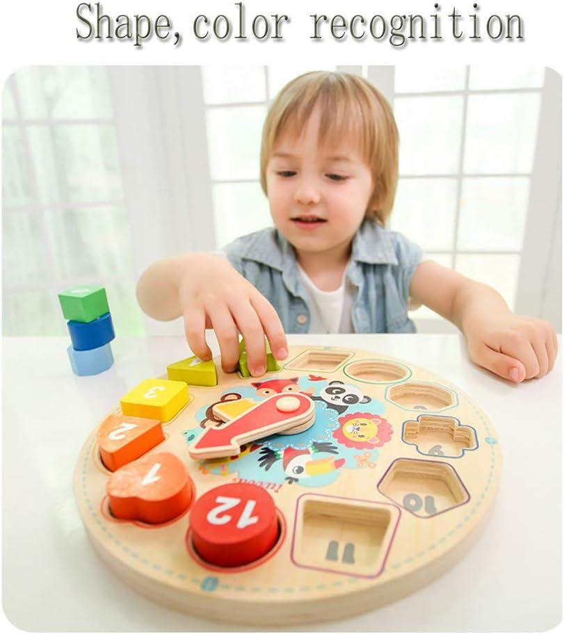 Stationer Early Childhood Education Wooden Shape Digital Cognitive Clock Colorful Cognitive Mosaic Board Childrens Enlightenment Cognitive Toy