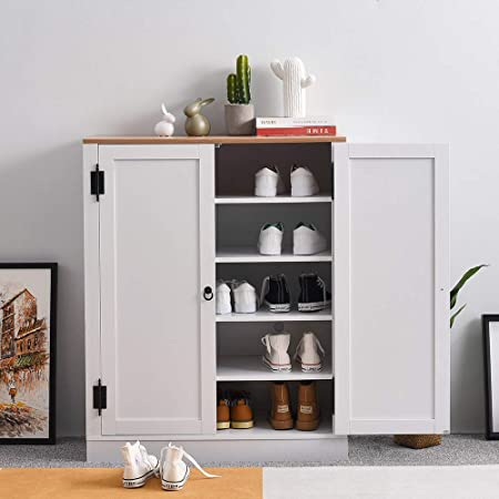 Pananahome Shoe Storage Cabinet Rack With Doors And Shelves Cupboard