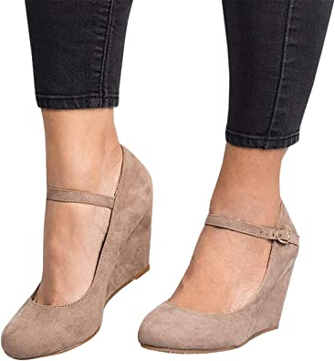 Syktkmx Womens Mary Jane Wedges Pumps