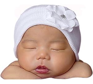 Melondipity Girls White Newborn Authentic Hospital Grade Baby Hat- White  Flower ade5939062d6