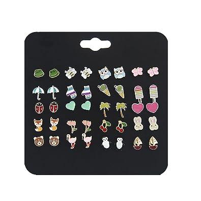 5eb998407 Amazon.com: Ainiya Stud Earrings Set Mixed Color Cute Fox Heart Bear Bee  Cherry Frog Flamingos Rabbit Umbrella Ladybug Shaped Earrings Set For Girls  Women ...