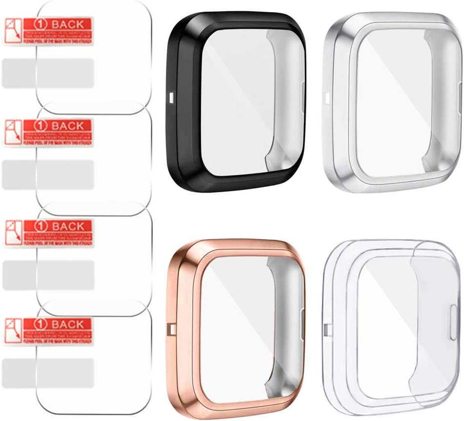 Soft Ultra Slim Full Protective Cover Case for Versa 2 Smartwatch Only AFUNTA 4 Pcs TPU Screen Protector /& 4 Pcs Screen Protector Case Compatible Fit-bit Versa 2