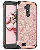 zte blade 3 case - ZTE Blade Max 3 Case, ZTE Max XL Case, BENTOBEN 2 in 1 Glitter Sparkle Bling Hybrid Slim Hard Cover Faux Leather Chrome Shockproof Protective Case for ZTE Blade Max 3/N9560/Z986U, Rose Gold