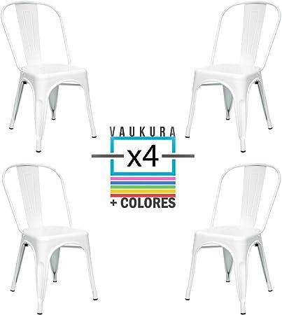 Vaukura Silla Tolix(Pack 4) - Silla Industrial Metálica Brillo (Blanco): Amazon.es: Hogar