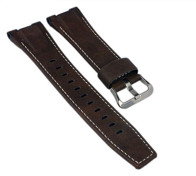 8083d9e408f Correa de Repuesto para Reloj Casio G-Shock GST-W130L, de Piel marrón con  Costura de Contraste.: Amazon.es: Relojes