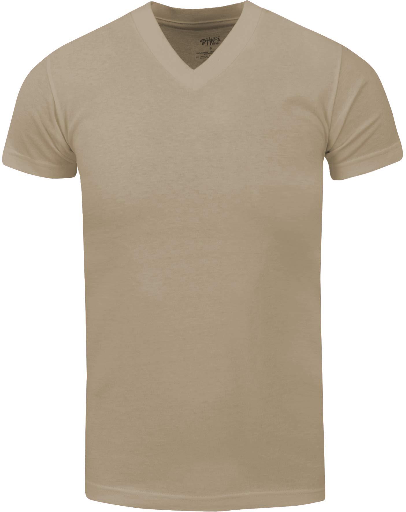 VNS20_ Active Mens Premium Cotton Heavy Weight V Neck Basic T Shirt Khaki by Shaka Wear (Image #1)