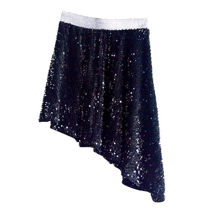 LINNUO Falda de Lentejuelas Mujer Clubwear Shimmer Irregular ...