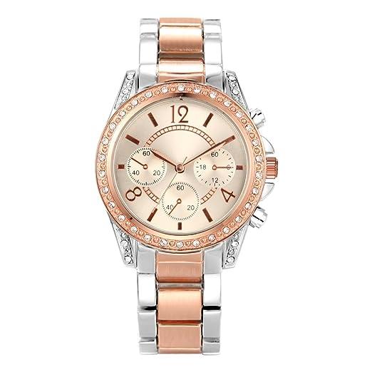 b30f834879b47 Montre Femme Or Rose Acier Inoxydable Bracelet Argent Quartz Analogique  Diamant Montre pour Femme Mode