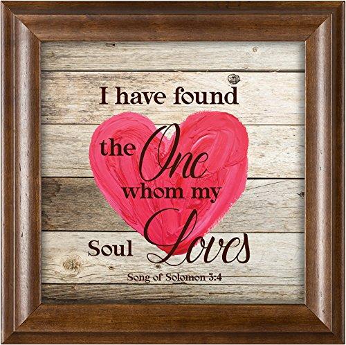 Elanze Designs My Soul Loves Heart Song of Solomon 3:4 Verona Mocha Wood Finish 12 x 12 Framed Art Wall Plaque -